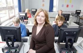 health informatics trainer with computers