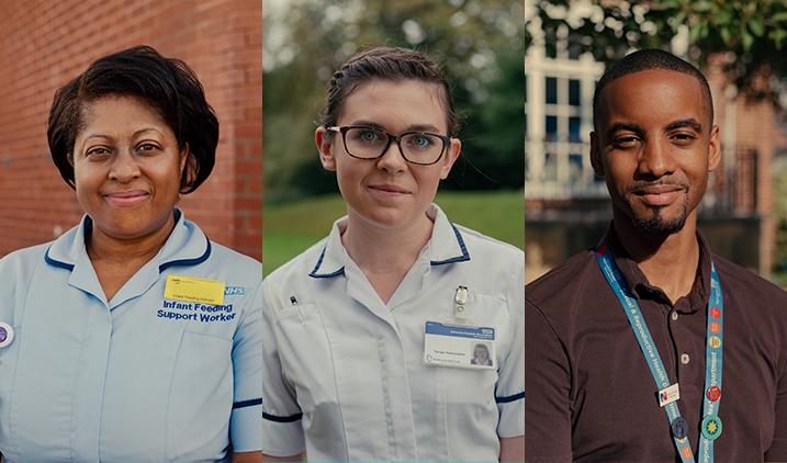 three nhs staff looking at camera smiling