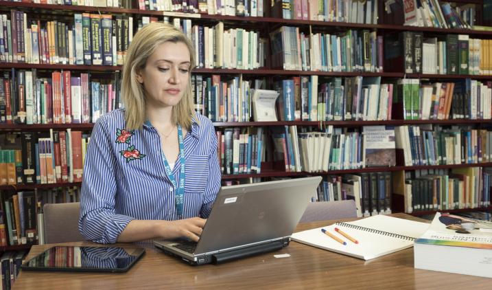 Librarian at desk