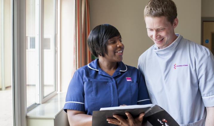 Female nurse with male student nurse