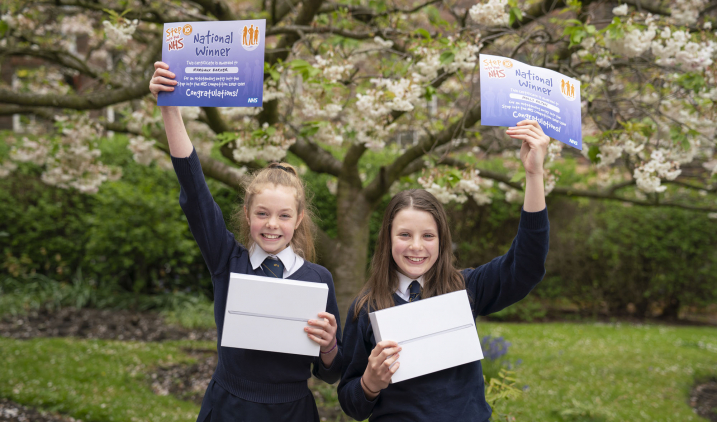 2018/19 Step into the NHS schools competition winners Margaux Barker and Molly Hilton