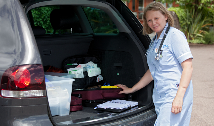 community nurse with car boot