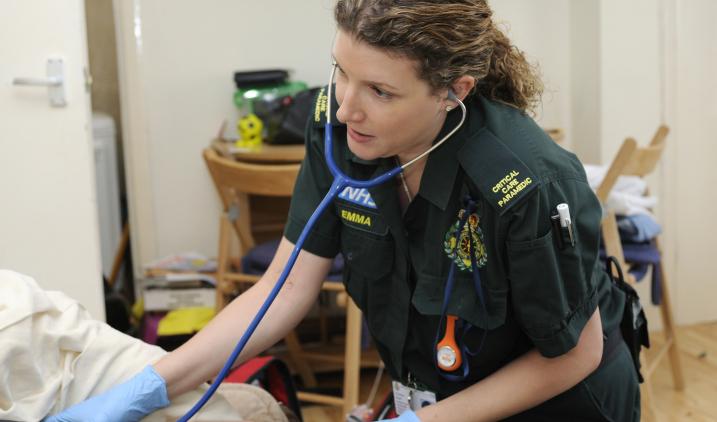 female paramedic with stethoscope