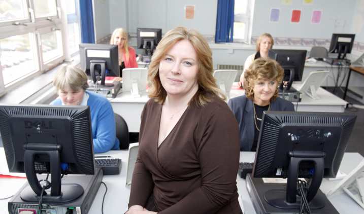 health informatics trainer with computers