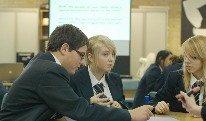 school students talking