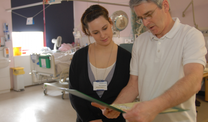 work experience student on ward with health professional